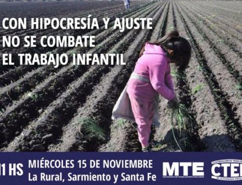 CON HIPOCRESÍA Y AJUSTE NO SE COMBATE EL TRABAJO INFANTIL